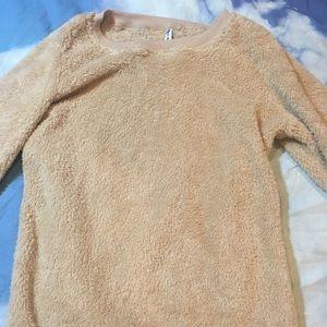 Nude/Beige Teddy Crew Neck Sweatshirt